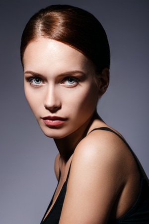 woman face close up: Gorgeous woman with blue eyes