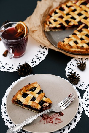 blueberry pie: Food. Delicious blueberry pie on the table