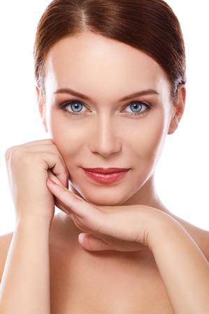 women posing: Gorgeous woman with blue eyes