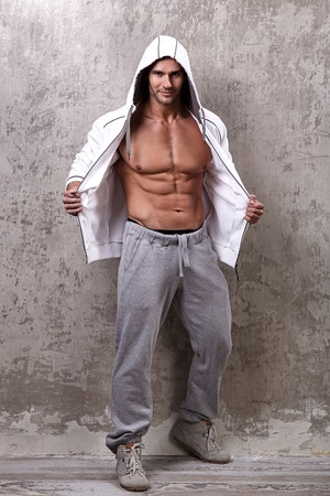 abdominal wall: Fitness. Handsome man with perfect body