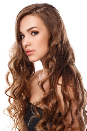 Cute, attractive girl with curly hair photo