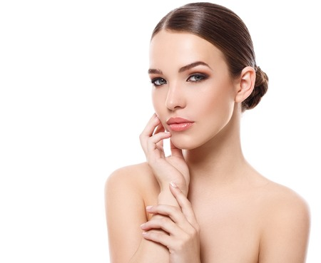 rosto humano: Beleza, spa. Mulher atraente, com belo rosto Banco de Imagens