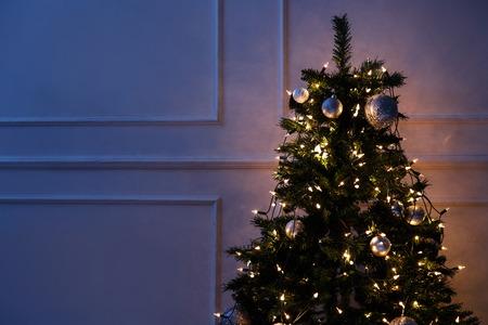 New Year, celebration. Beautiful, shiny Christmas tree photo