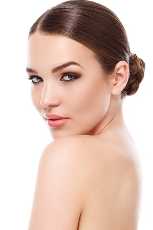girl face: Beauty, spa. Attractive woman with beautiful face