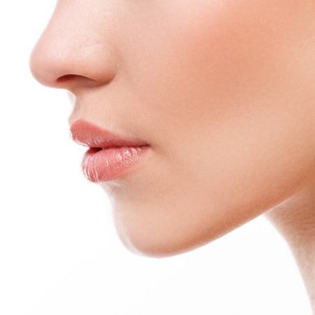 nose close up: Beauty, spa. Lips in details Stock Photo