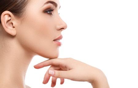 ansikten: Skönhet, spa. Attraktiv kvinna med vackert ansikte Stockfoto