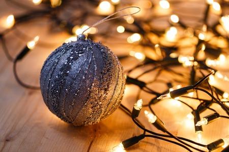 shiny floor: New Year, celebration. Shiny garland on the floor Stock Photo