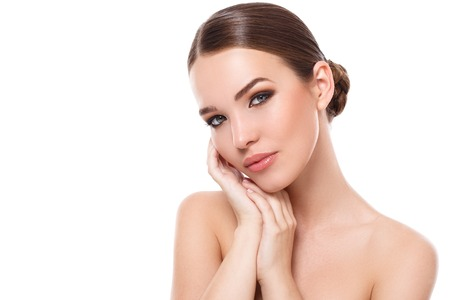 woman face: Beauty, spa. Attractive woman with beautiful face