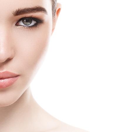 Skönhet, spa. Attraktiv kvinna med vackert ansikte Stockfoto