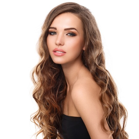 long hairs: Cute, attractive girl with curly hair
