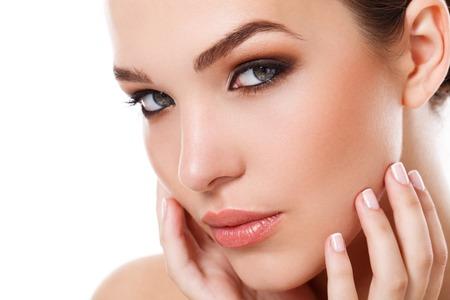 face to face: Beauty, spa. Attractive woman with beautiful face