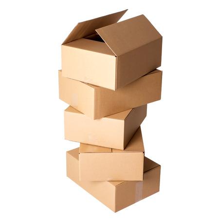 packer: Carton boxes on a white background Stock Photo