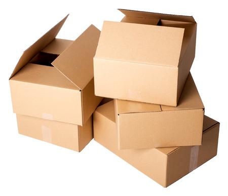 shipped: Carton boxes on a white background Stock Photo