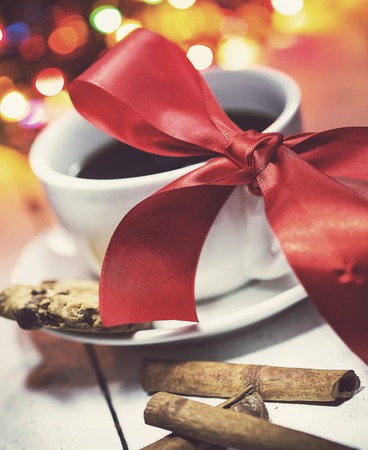 New Year, gift. Delicious black coffee on the table photo