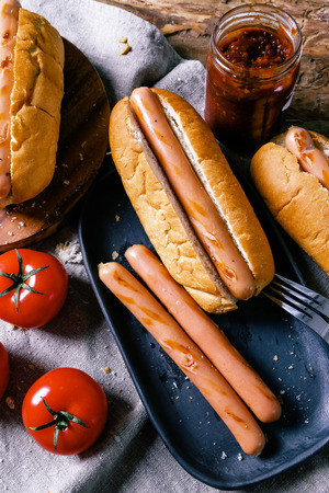 hotdog sandwiches: Delicious hot dog on the table