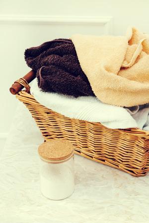 big bin: Laundry. Wicker basket with dirty towels