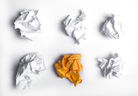 wastepaper: Crumpled paper on a white background
