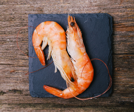 shrimp: Delicious shrimps on the wooden table