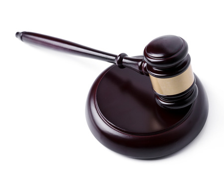 court process: Judge hammer on a white background Stock Photo