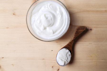 greek: Greek yoghurt on the table Stock Photo