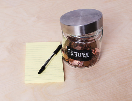 money jar: Finance, money. Jar for coins Stock Photo