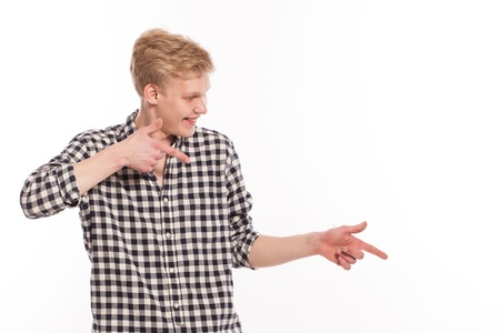 cute guy: Cute guy in shirt over a white background