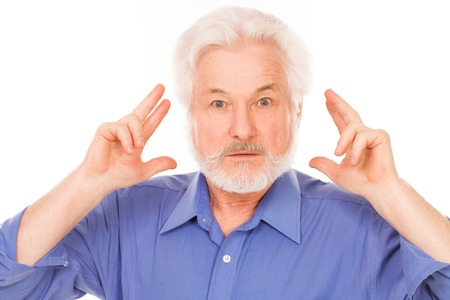 gray beard: Handsome elderly man with gray beard has an idea isolated over white background