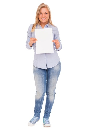 plackard: Young blond caucasian woman showing paper over white background Stock Photo