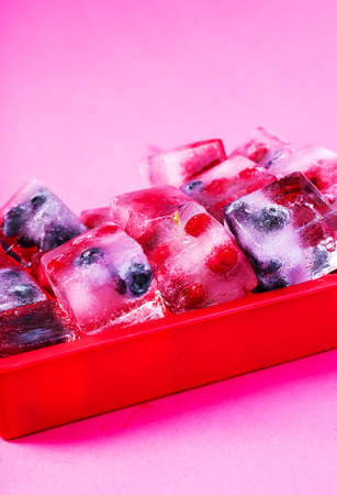 selfmade: Natural, organic, self-made. Frozen berries Stock Photo
