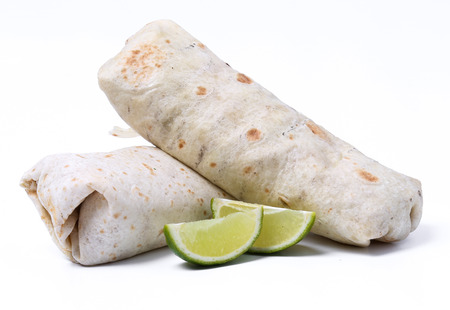 Delicious burrito on a white background Imagens