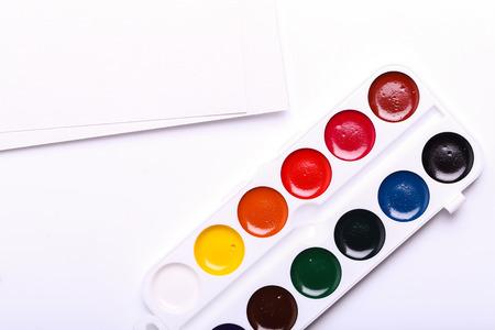 paints: Colorful watercolor paints Stock Photo