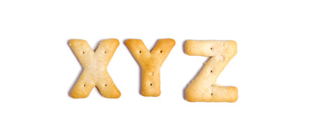 Alphabet cookies on a white background photo