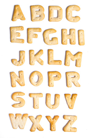 alphabet letters: Alphabet cookies on a white background Stock Photo