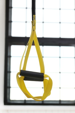 strap: TRX strap in the gym Stock Photo