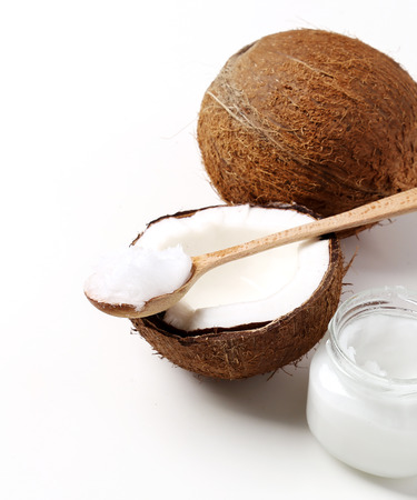 Coconut on a white background Imagens