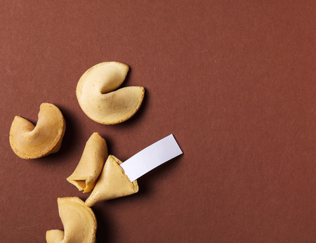 Fortune cookie on the table Imagens