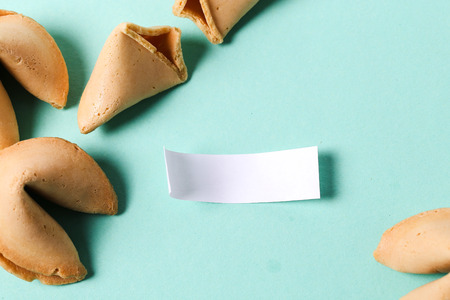 homemade cookies: Fortune cookie on the table Stock Photo