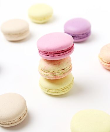 Candy, sweet. Delicious french macaron on the table Stock Photo