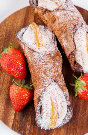 cannoli pastry: Pastry. Delicious cannoli on the table