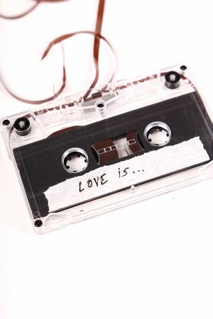 electronic 80s: Retro, vintage. Cassette on the table Stock Photo