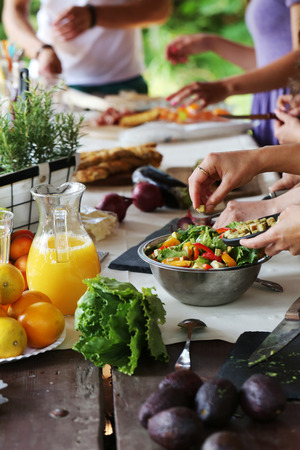 Cooking frame, food. Table full of food Stock Photo - 43137393