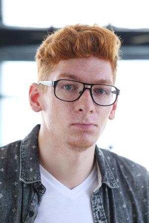 ginger hair: Ginger. Handsome man in the office