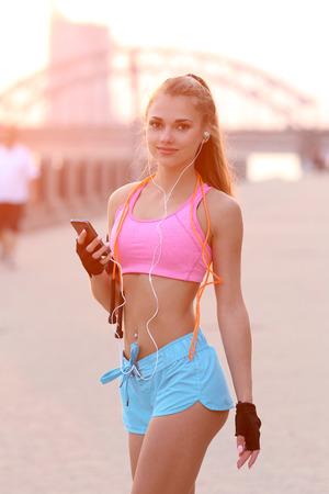 Sport outdoor. Beautiful girl on the street Stock Photo