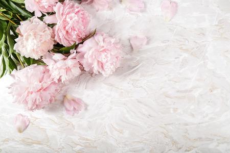 Bloemen. Mooie pioen op de tafel Stockfoto