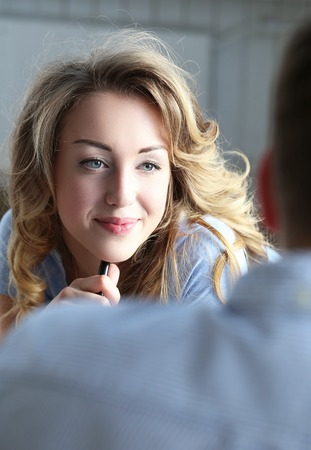 contact person: Beauty. Cute girl at home Stock Photo