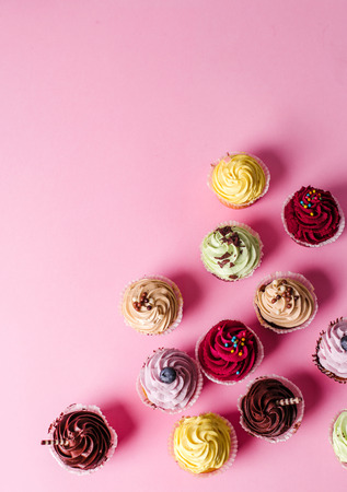 cupcakes background: Dessert. Delicious cupcake on the table