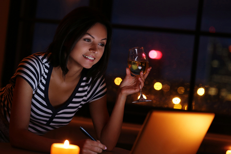 drunk girl: Beautiful brunette with glass of wine