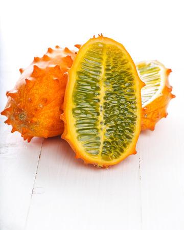 horned: Kiwano, fruit. Horned melon on the table