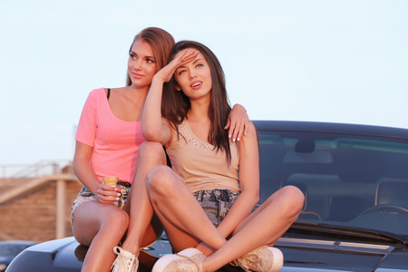 BFF. Two cute girls at street Stock Photo
