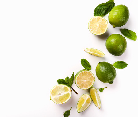 lime slice: Citrus. Lime on the table Stock Photo